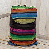 Cotton backpack, 'Tasajera Stripes' - Multicolored Striped Cotton Backpack from El Salvador