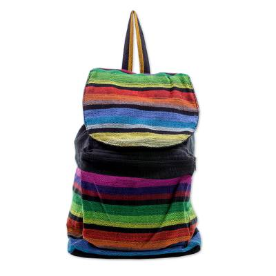 Multicolored Striped Cotton Backpack from El Salvador