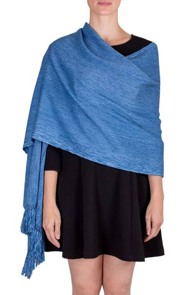Cotton shawl, 'In the Sky' - Handwoven Cotton Shawl in Sky Blue and Azure from Guatemala