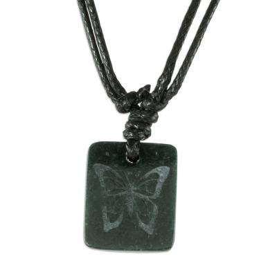 Jade pendant necklace, 'Mayan Butterfly' - Black Jade Butterfly Pendant Necklace from Guatemala