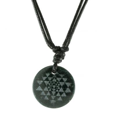 Black Jade Geometric Pendant Necklace from Guatemala