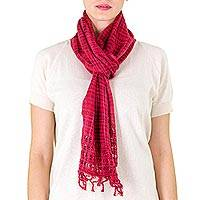 Cotton scarf, 'Loving Hold in Red' - Handwoven Cotton Scarf in Wine and Rose from Nicaragua