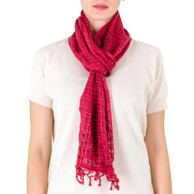 Cotton scarf, Loving Hold in Red