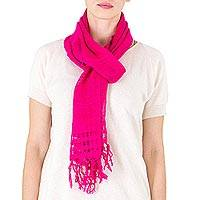 Cotton scarf, 'Sweet Femininity in Cerise' - Handwoven Fringed Cotton Scarf in Cerise from NIcaragua