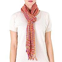 Cotton scarf, 'Loving Hold' - Handwoven Multicolored Cotton Scarf from Nicaragua