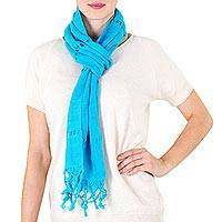 Cotton scarf, 'Sweet Femininity in Cerulean' - Handwoven Cotton Scarf in Cerulean from Nicaragua