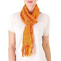 Cotton scarf, 'Loving Hold in Orange' - Handwoven Cotton Scarf in Orange from Nicaragua