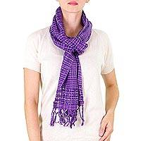 Cotton scarf, 'Loving Hold in Purple' - Nicaraguan Handwoven Cotton Scarf in Wisteria and Amethyst