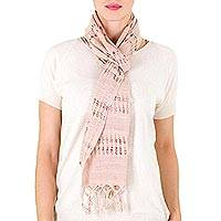 Cotton scarf, 'Sweet Femininity in Champagne' - Handwoven Cotton Scarf in Champagne from Nicaragua