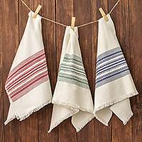 Cotton dishtowels, 'Village Festival' (set of 3) - Multicolor 100% Cotton Dishtowels (Set of 3)
