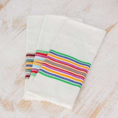 Cotton dishtowels, 'Celebration' (set of 3) - Striped Multicolor 100% Cotton Dishtowels (Set of 3)
