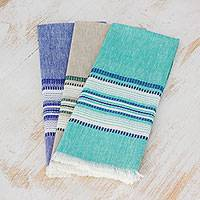 Cotton dishtowels, 'Sea and Sky' (set of 3) - Set of Three 100% Cotton Dishtowels from Guatemala