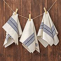 Cotton napkins, 'Peaceful Stripes' (set of 6) - Striped 100% Cotton Napkins from Guatemala (Set of 6)