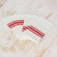 Cotton napkins, 'Peaceful Lines' (set of 6) - Red and White Striped Cotton Napkins (Set of 6)