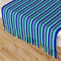 Cotton table runner, 'Ocean Memory' - Blue and Green Striped 100% Cotton Table Runner