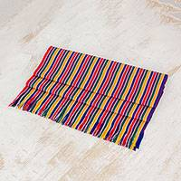 Cotton table runner, 'Path of Happiness' - Multicolor Striped Cotton Table Runner from Guatemala