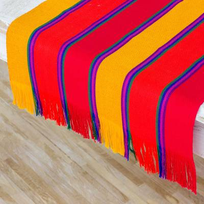 Cotton table runner, 'Sunset Glory' - Multicolor Striped Cotton Table Runner from Guatemala
