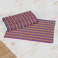 Cotton placemats, 'Rainbow Inspiration' (set of 6) - Six Multicolored Striped Cotton Placemats from Guatemala