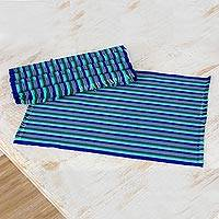Cotton placemats, 'Colors of the Sea' (set of 6) - Set of Six Striped Cotton Placemats in Blue from Guatemala
