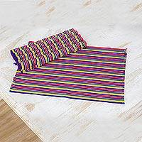 Cotton placemats, 'Trails of Happiness' (set of 6) - Six Handwoven Striped Cotton Placemats from Guatemala