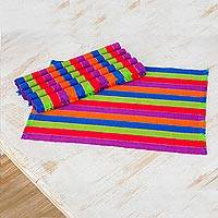 Cotton placemats, 'Harvest Trails' (set of 6) - Six Multicolored Striped Cotton Placemats from Guatemala