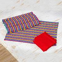 Cotton placemats and napkins, 'Rainbow Inspiration' (set of 6) - Set of 6 Multicolored Striped Cotton Placemats and Napkins