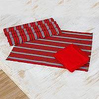 Cotton placemats and napkins, 'Palopó Trails' (set of 6) - Set of 6 Striped Cotton Placemats and Napkins in Crimson