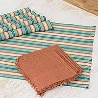 Cotton placemats and napkins, 'Celadon Trails' (set of 6) - Six Cotton Placemats and Napkins in Celadon and Russet