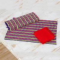 Cotton placemats and napkins, 'Trails of Happiness' (set of 6) - Six  Multicolored Guatemalan Cotton Napkins and Placemats