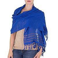 Cotton shawl, 'Royal Blue Dream' - Handwoven Fringed Cotton Shawl in Royal from Nicaragua
