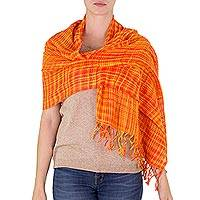 Cotton shawl, 'Embraced by Love in Orange' - Handwoven Fringed Cotton Shawl in Orange from Nicaragua