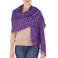 Cotton shawl, 'Embraced by Love in Purple' - Handwoven Fringed Cotton Shawl in Purple from Nicaragua
