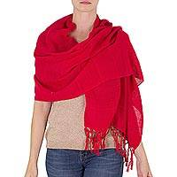 Cotton shawl, 'Strawberry Embrace' - Handwoven Fringed Cotton Shawl in Strawberry from Nicaragua