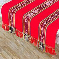 Cotton table runner, 'Happiness and Family' - Artisan Crafted Cotton Table Runner in Poppy from Guatemala