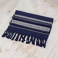 Cotton table runner, 'Midnight Path' - Fringed Cotton Table Runner in Midnight from Guatemala