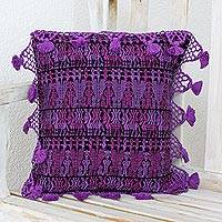 Cotton cushion cover, 'Tactic Style' - Geometric Cotton Cushion Cover in Amethyst from Guatemala