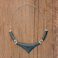 Jade statement necklace, 'Mayan Elite' - Pointed 925 Silver Jade Statement Necklace from Guatemala