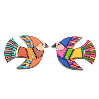 Pair of Hand-Painted Wood Bird Key Racks from El Salvador