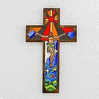 Wood wall cross, 'Splendor of Jesus' - Handcrafted Religious Wood Wall Cross from El Salvador