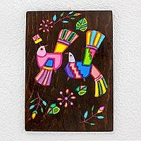 Wood wall art, 'Exotic Colors' - Handcrafted Painted Bird Wood Wall Art from El Salvador