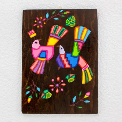 Handcrafted Painted Bird Wood Wall Art From El Salvador Exotic Colors