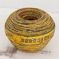 Recycled paper decorative vase, 'Words of Passion' - Handcrafted Recycled Paper Decorative Vase from Guatemala