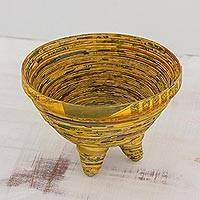Recycled paper decorative bowl, 'Inspired Vision' - Recycled Paper Decorative Bowl from Guatemala