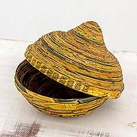 Recycled paper decorative bowl, 'Words of Compassion' - Recycled Paper Decorative Bowl and Lid from Guatemala
