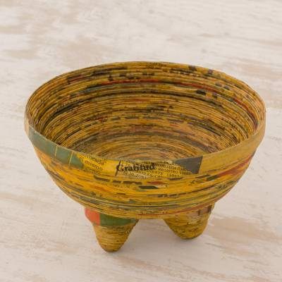 Recycled paper decorative bowl, 'Pretty Benediction' - Handmade Recycled Paper Decorative Bowl from Guatemala