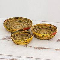 Recycled paper decorative bowls, 'Words of Gratitude' (set of 3) - Three Recycled Paper Decorative Bowls from Guatemala