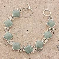 Jade link bracelet, 'Studded Path in Light Green' - Light Green Jade and Sterling Silver Bracelet from Guatemala