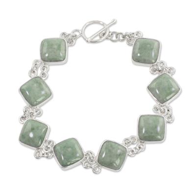 Jade link bracelet, 'Studded Path in Light Green' - Light Green Jade and Sterling Silver Bracelet from Guatemala