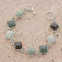Jade link bracelet, 'Studded Path' - Jade and Sterling Silver Link Bracelet from Guatemala