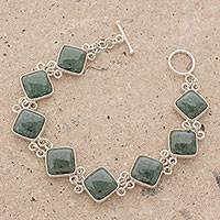 Jade link bracelet, 'Studded Path in Green' - Green Jade and Sterling Silver Bracelet from Guatemala
